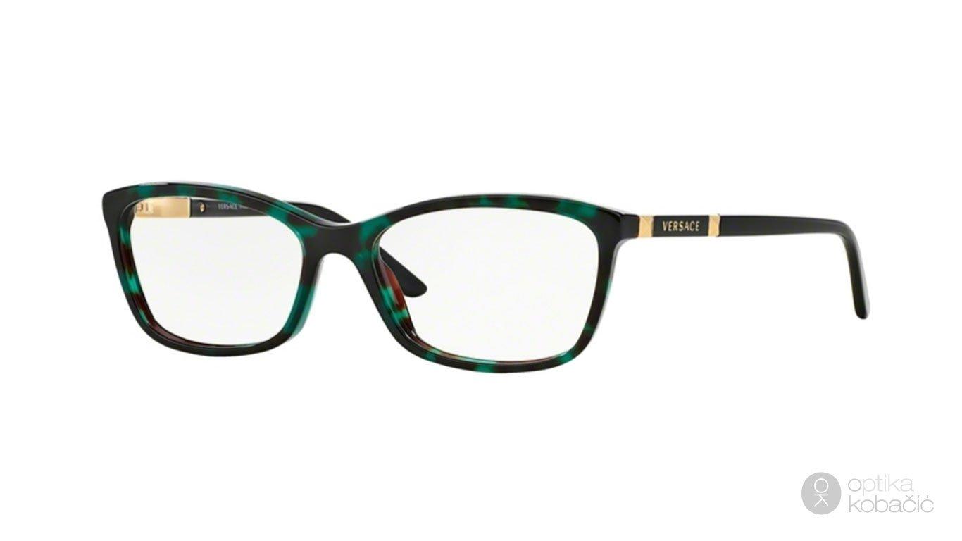 Versace 3186 5076 54 Green Havana Transp
