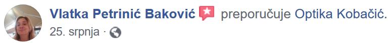 Vlatka Petrinić Baković Facebook ocjena